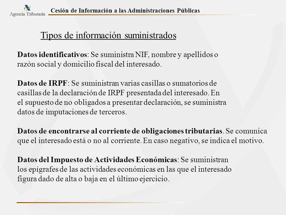 Tipos de información suministrados Datos identificativos: Se suministra NIF, nombre y apellidos o razón social y domicilio fiscal del interesado. Dato