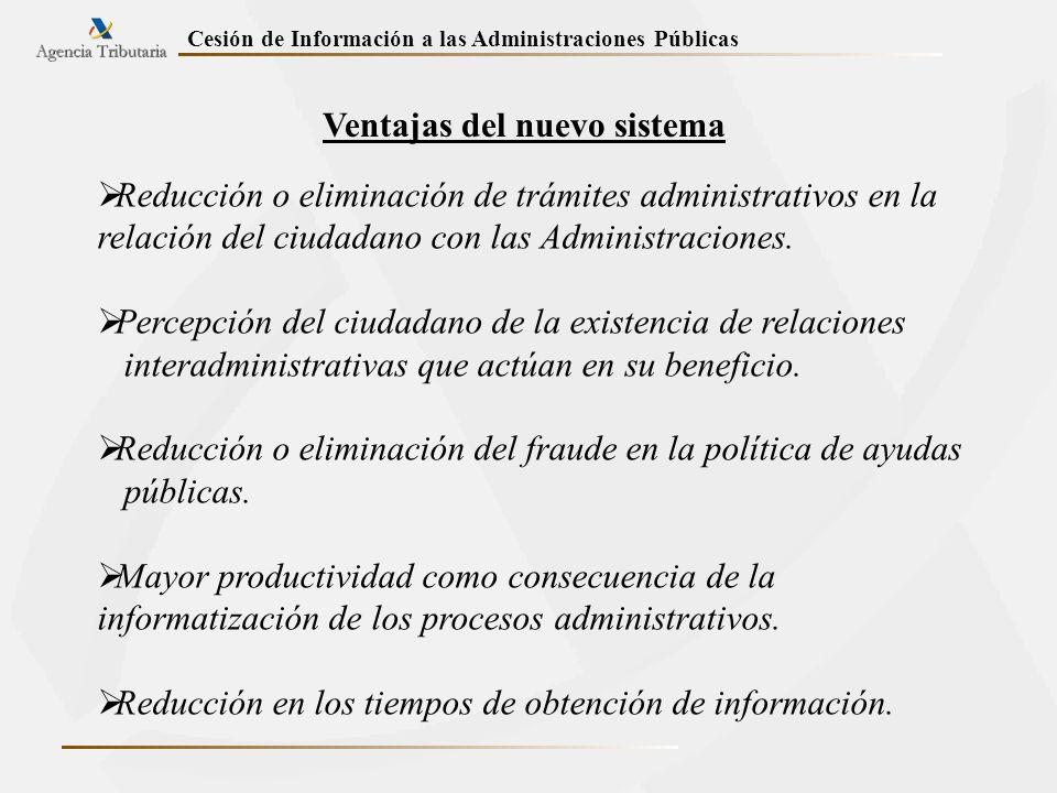 Ventajas del nuevo sistema Reducción o eliminación de trámites administrativos en la relación del ciudadano con las Administraciones. Percepción del c