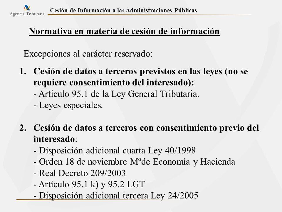 Normativa en materia de cesión de información Excepciones al carácter reservado: 1.Cesión de datos a terceros previstos en las leyes (no se requiere c