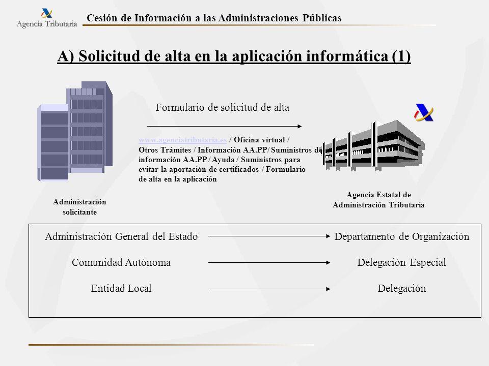 Cesión de Información a las Administraciones Públicas A) Solicitud de alta en la aplicación informática (1) Administración solicitante Agencia Estatal