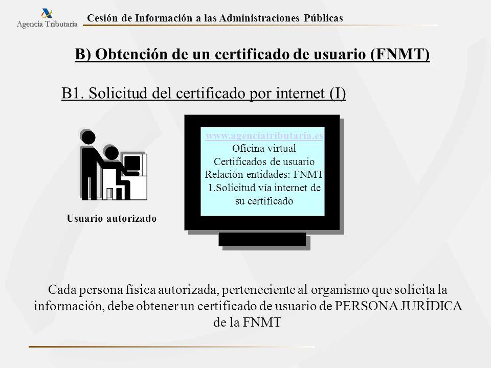 Cesión de Información a las Administraciones Públicas B) Obtención de un certificado de usuario (FNMT) B1. Solicitud del certificado por internet (I)