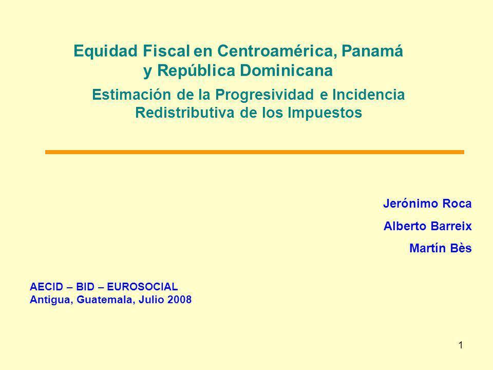 1 Equidad Fiscal en Centroamérica, Panamá y República Dominicana AECID – BID – EUROSOCIAL Antigua, Guatemala, Julio 2008 Estimación de la Progresivida