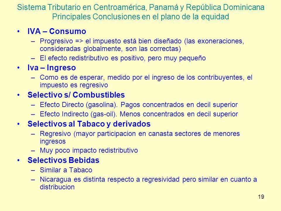 19 Sistema Tributario en Centroamérica, Panamá y República Dominicana Principales Conclusiones en el plano de la equidad IVA – Consumo –Progresivo =>