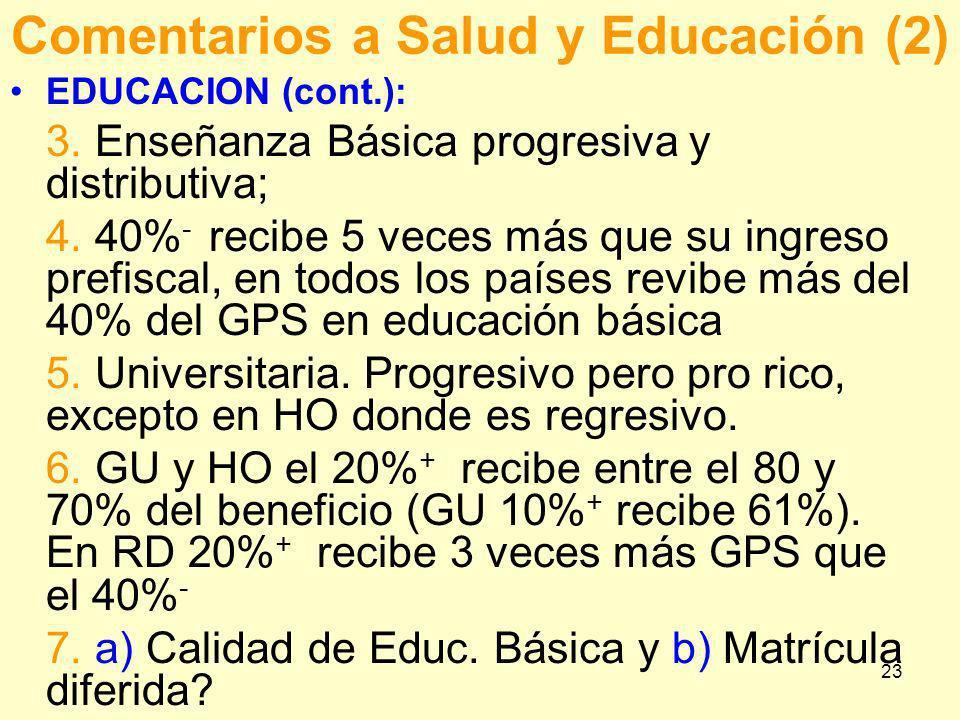 23 Comentarios a Salud y Educación (2) EDUCACION (cont.): 3. Enseñanza Básica progresiva y distributiva; 4. 40% - recibe 5 veces más que su ingreso pr