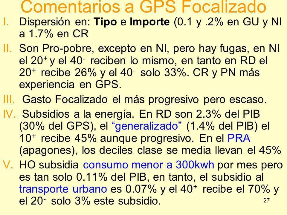27 I.Dispersión en: Tipo e Importe (0.1 y.2% en GU y NI a 1.7% en CR II.Son Pro-pobre, excepto en NI, pero hay fugas, en NI el 20 + y el 40 - reciben