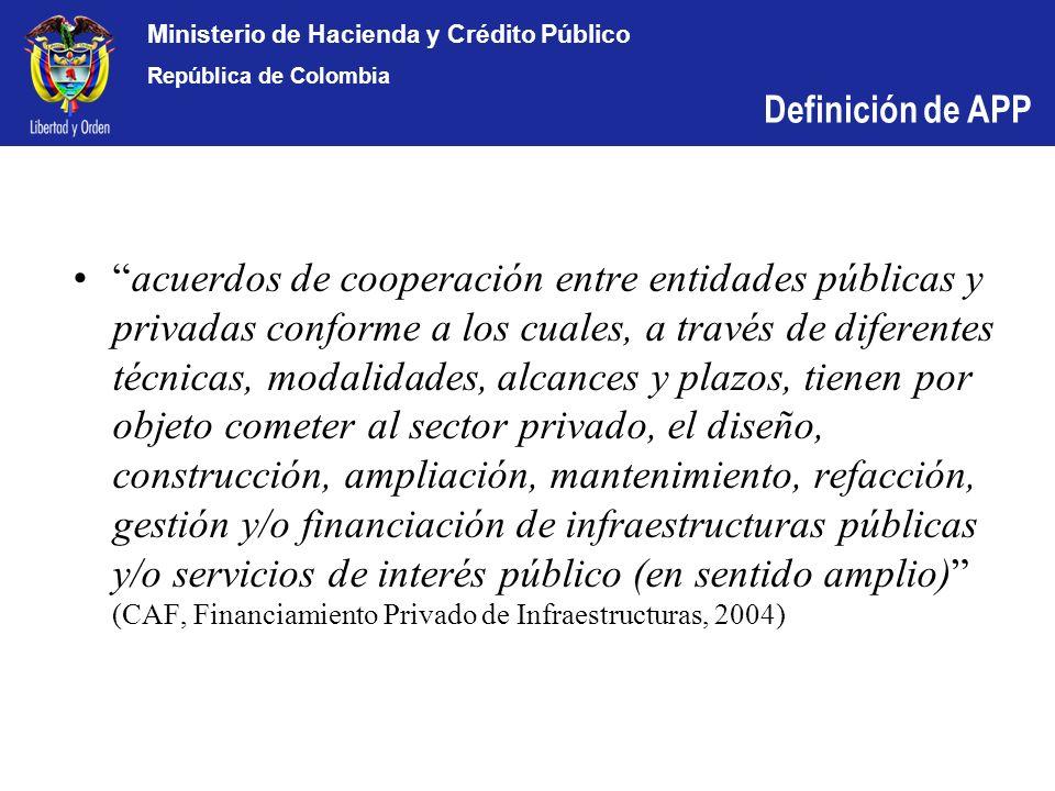 Ministerio de Hacienda y Crédito Público República de Colombia acuerdos de cooperación entre entidades públicas y privadas conforme a los cuales, a tr