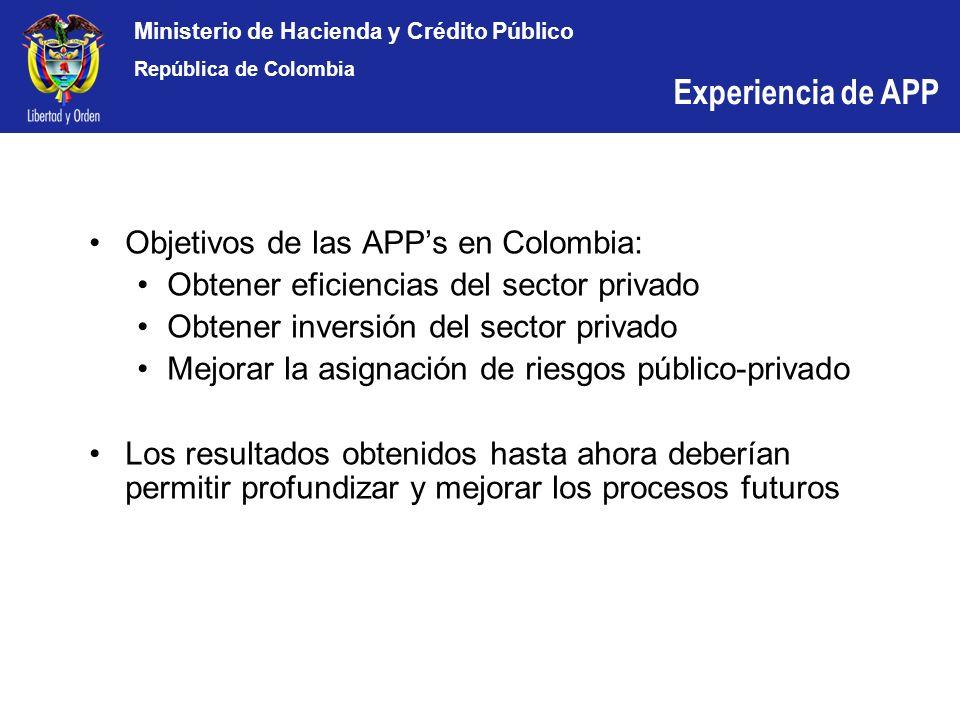 Ministerio de Hacienda y Crédito Público República de Colombia Objetivos de las APPs en Colombia: Obtener eficiencias del sector privado Obtener inver