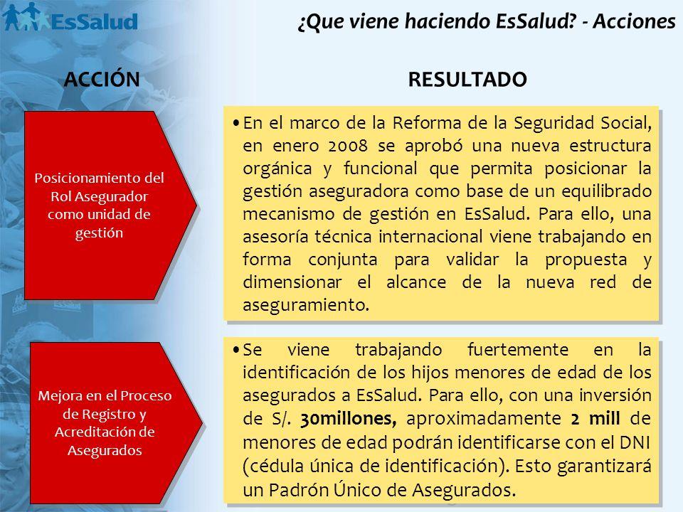 Posicionamiento del Rol Asegurador como unidad de gestión En el marco de la Reforma de la Seguridad Social, en enero 2008 se aprobó una nueva estructu