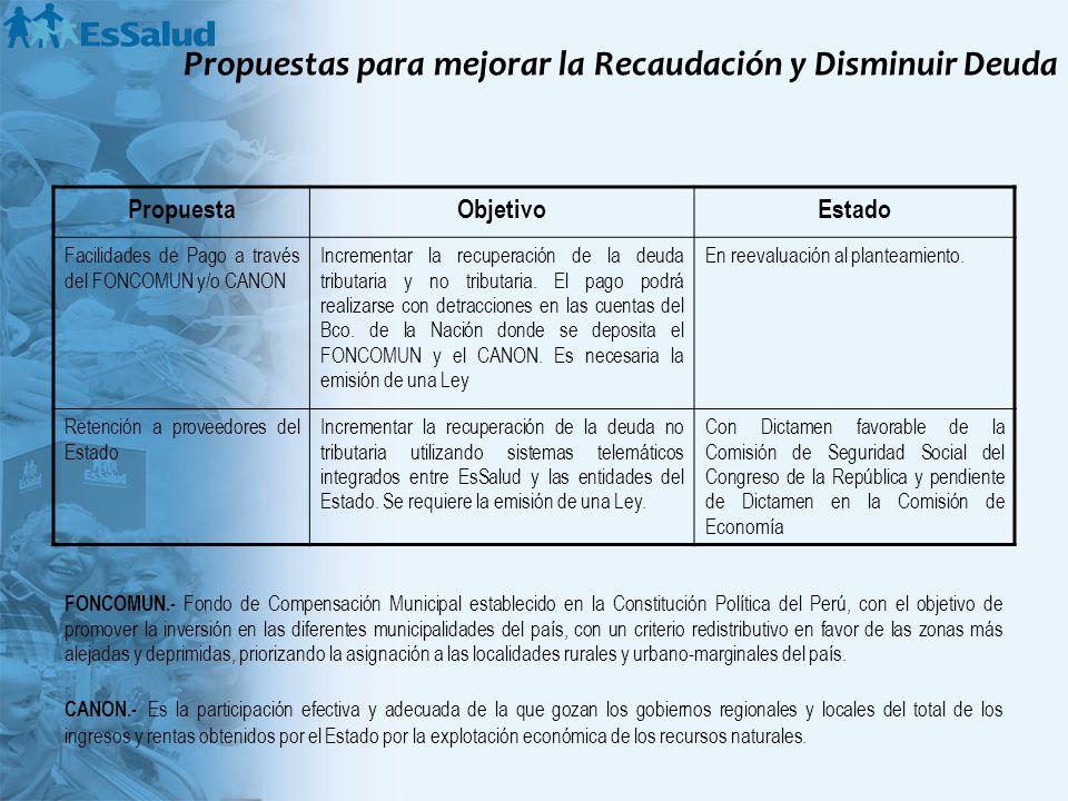 Propuestas para mejorar la Recaudación y Disminuir Deuda PropuestaObjetivoEstado Facilidades de Pago a través del FONCOMUN y/o CANON Incrementar la re