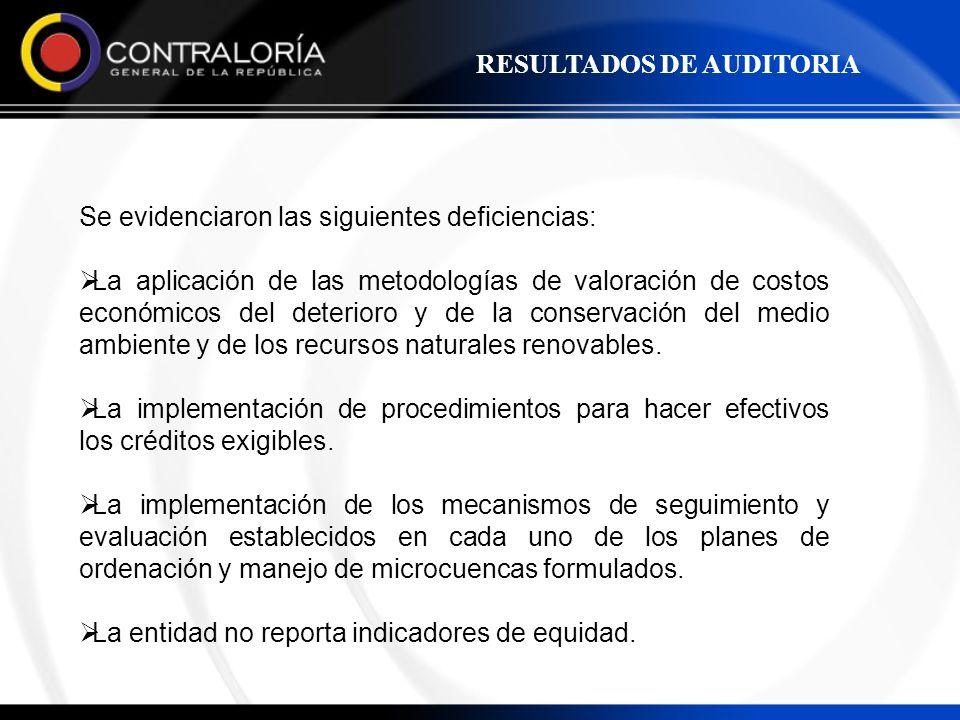 Se evidenciaron las siguientes deficiencias: La aplicación de las metodologías de valoración de costos económicos del deterioro y de la conservación d