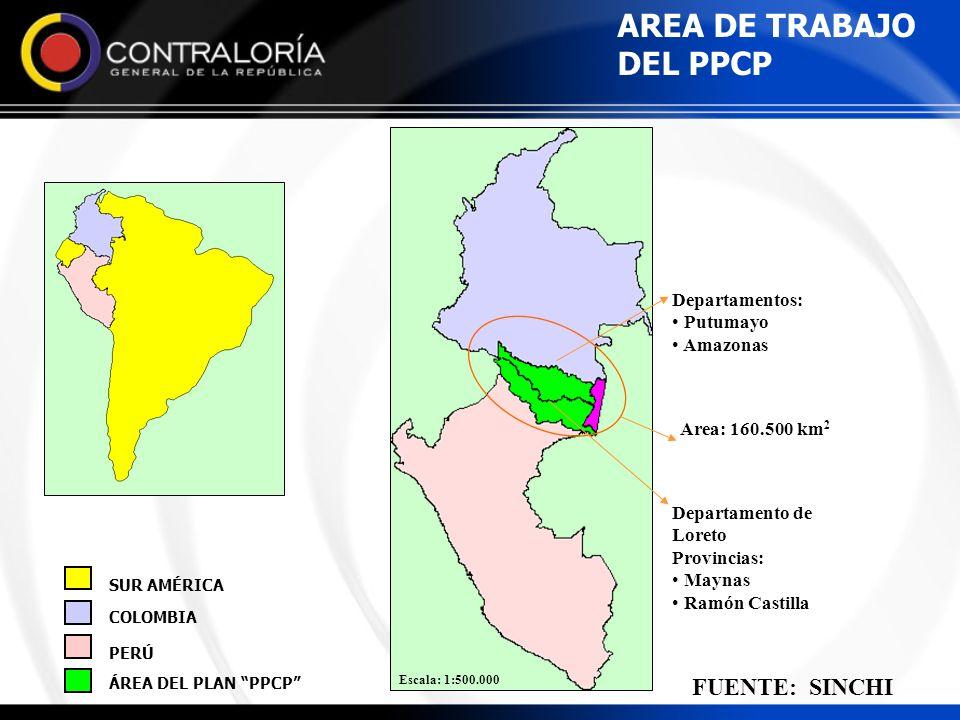 Escala: 1:500.000 AREA DE TRABAJO DEL PPCP ÁREA DEL PLAN PPCP PERÚ COLOMBIA SUR AMÉRICA Area: 160.500 km 2 Departamento de Loreto Provincias: Maynas R