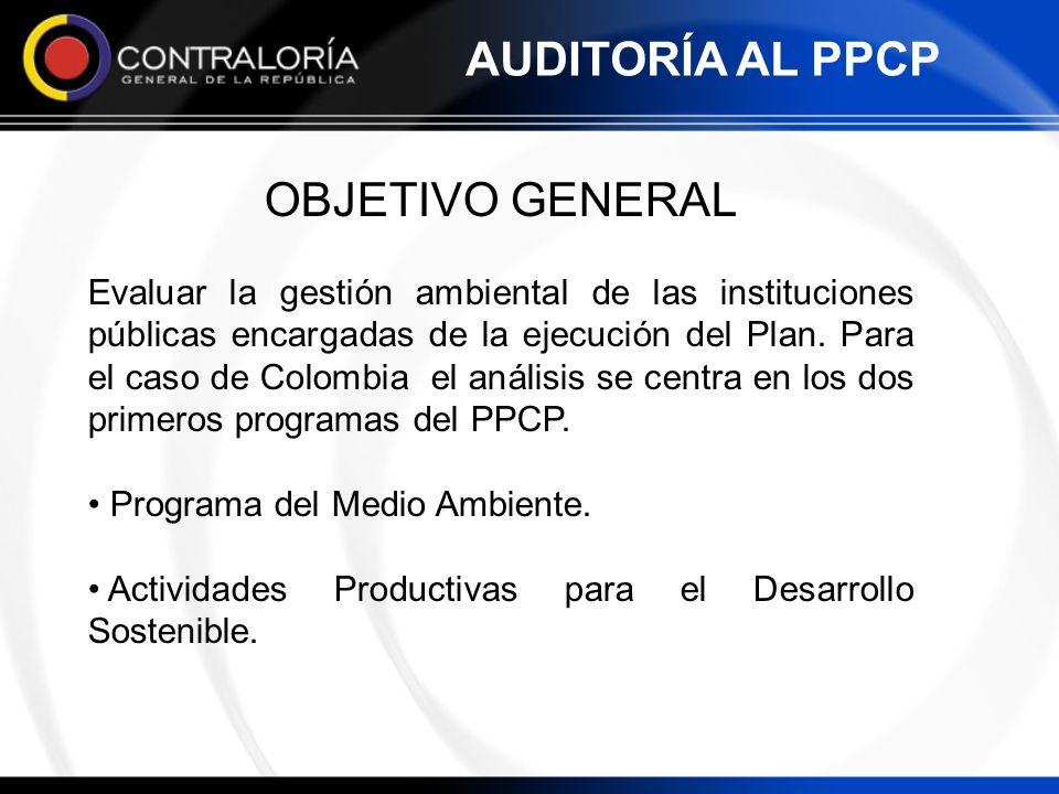 OBJETIVO GENERAL Evaluar la gestión ambiental de las instituciones públicas encargadas de la ejecución del Plan. Para el caso de Colombia el análisis