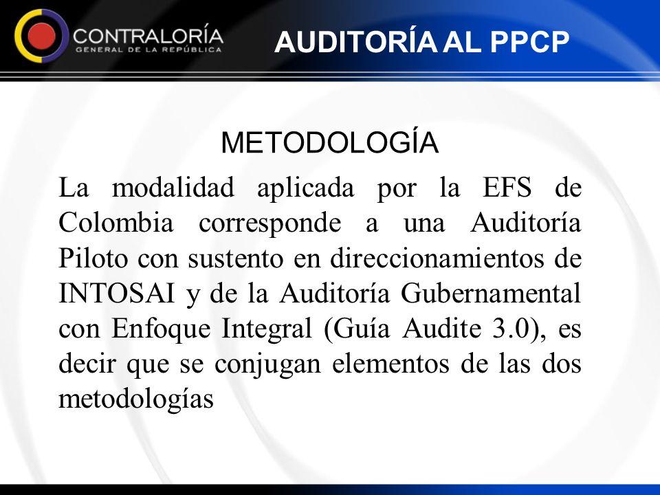 METODOLOGÍA La modalidad aplicada por la EFS de Colombia corresponde a una Auditoría Piloto con sustento en direccionamientos de INTOSAI y de la Audit