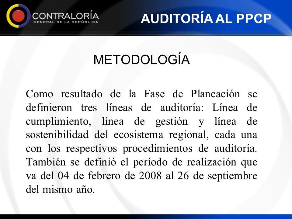METODOLOGÍA Como resultado de la Fase de Planeación se definieron tres líneas de auditoría: Línea de cumplimiento, línea de gestión y línea de sosteni