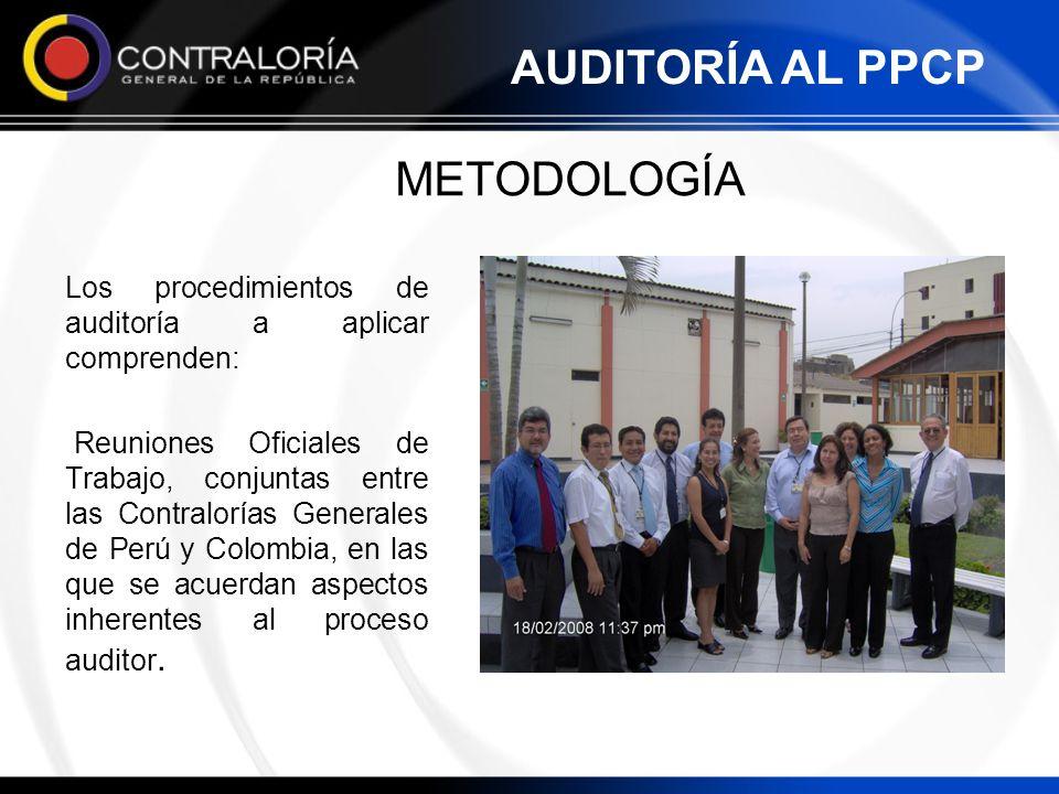 METODOLOGÍA Los procedimientos de auditoría a aplicar comprenden: Reuniones Oficiales de Trabajo, conjuntas entre las Contralorías Generales de Perú y