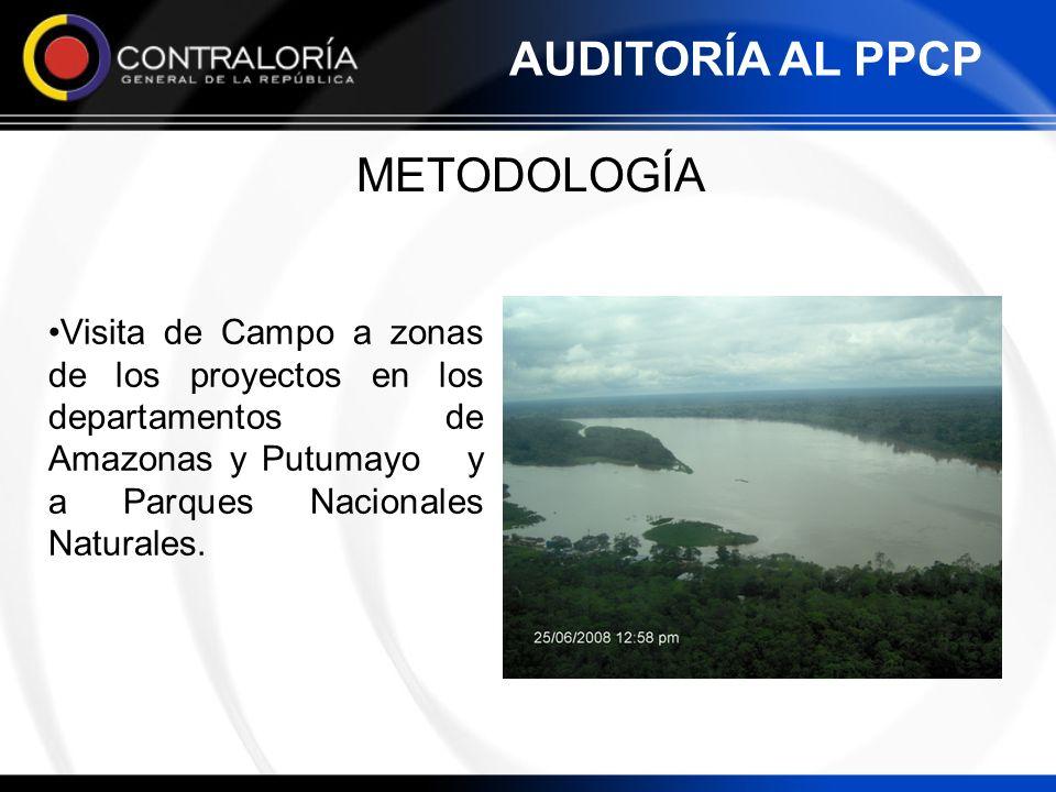METODOLOGÍA Visita de Campo a zonas de los proyectos en los departamentos de Amazonas y Putumayo y a Parques Nacionales Naturales. AUDITORÍA AL PPCP