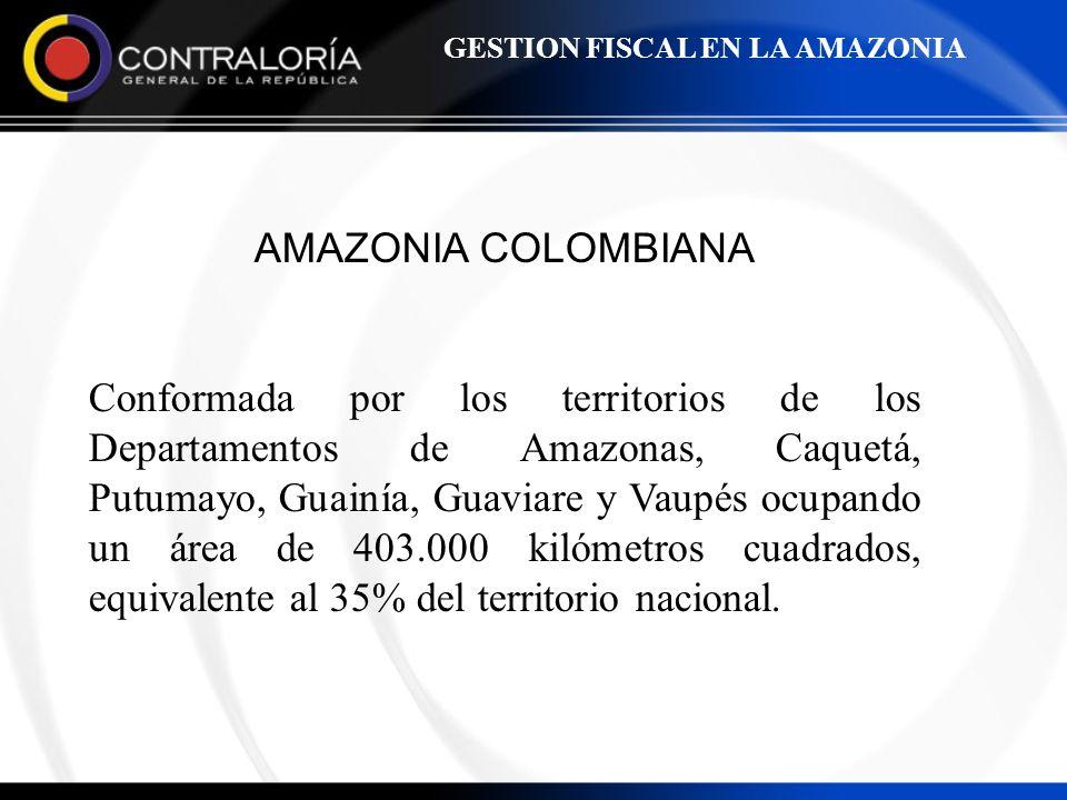 AMAZONIA COLOMBIANA Conformada por los territorios de los Departamentos de Amazonas, Caquetá, Putumayo, Guainía, Guaviare y Vaupés ocupando un área de