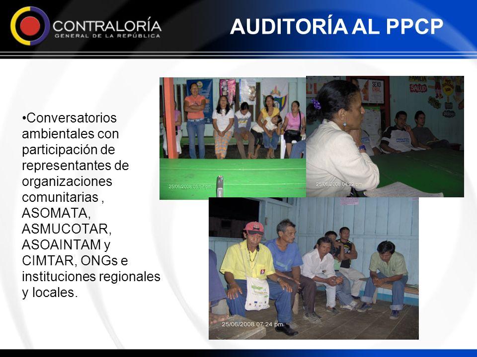 Conversatorios ambientales con participación de representantes de organizaciones comunitarias, ASOMATA, ASMUCOTAR, ASOAINTAM y CIMTAR, ONGs e instituc