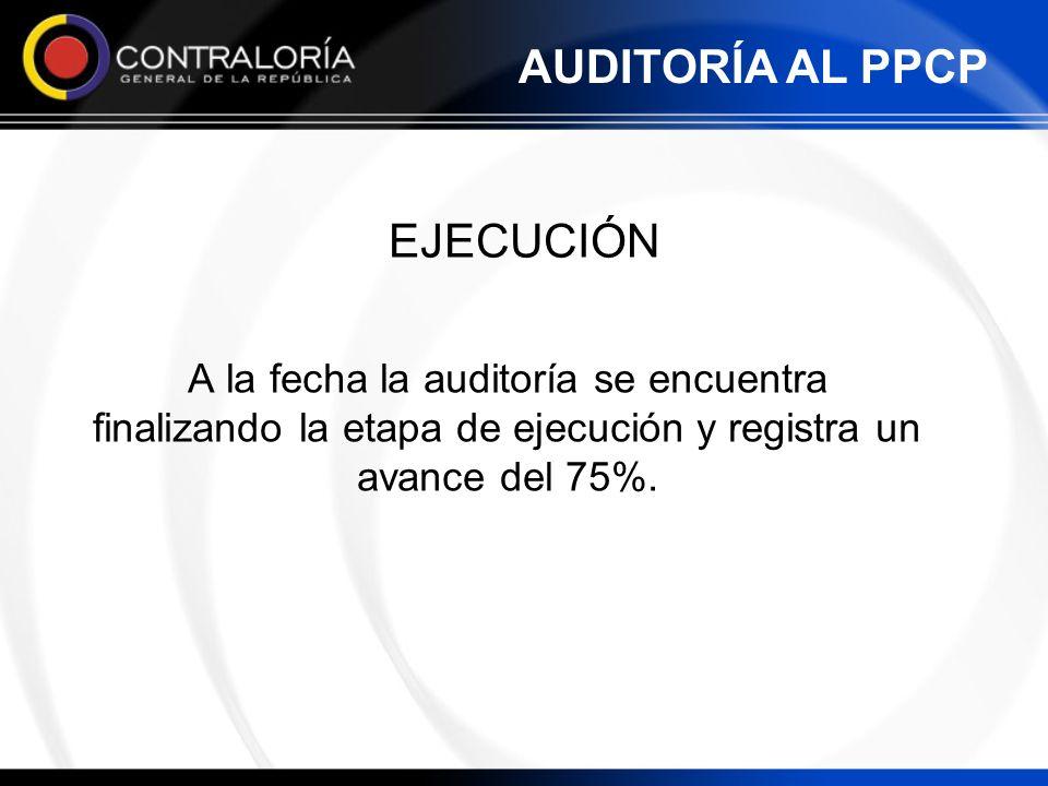 A la fecha la auditoría se encuentra finalizando la etapa de ejecución y registra un avance del 75%. EJECUCIÓN AUDITORÍA AL PPCP