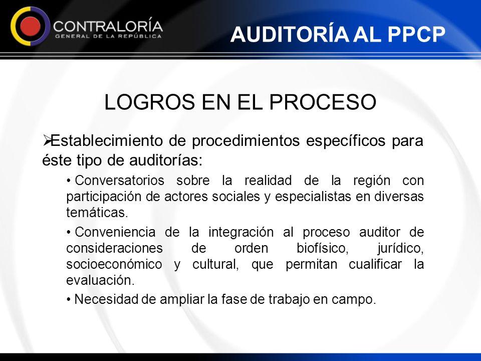 LOGROS EN EL PROCESO Establecimiento de procedimientos específicos para éste tipo de auditorías: Conversatorios sobre la realidad de la región con par