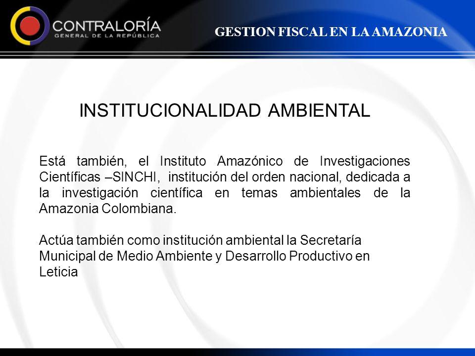 INSTITUCIONALIDAD AMBIENTAL Está también, el Instituto Amazónico de Investigaciones Científicas –SINCHI, institución del orden nacional, dedicada a la