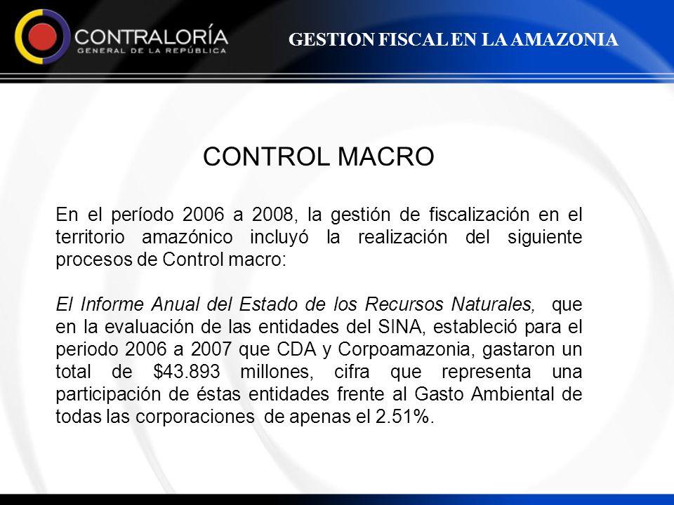 CONTROL MACRO En el período 2006 a 2008, la gestión de fiscalización en el territorio amazónico incluyó la realización del siguiente procesos de Contr