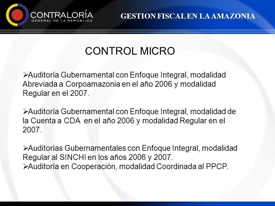 CONTROL MICRO Auditoría Gubernamental con Enfoque Integral, modalidad Abreviada a Corpoamazonia en el año 2006 y modalidad Regular en el 2007. Auditor