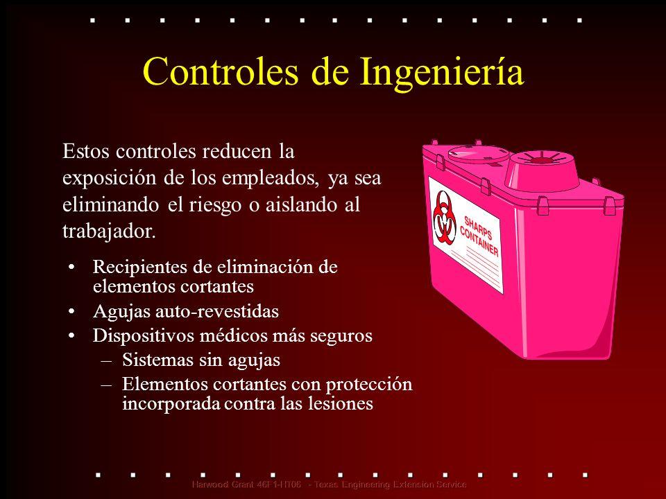 Estos controles reducen la exposición de los empleados, ya sea eliminando el riesgo o aislando al trabajador. Controles de Ingeniería Recipientes de e