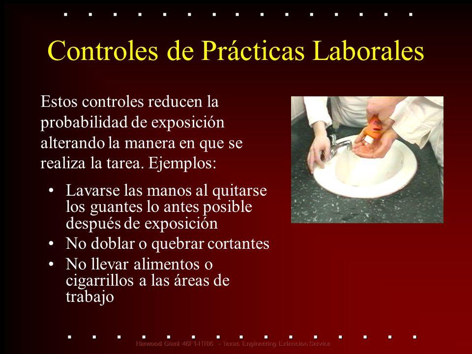 Controles de Prácticas Laborales Lavarse las manos al quitarse los guantes lo antes posible después de exposición No doblar o quebrar cortantes No lle