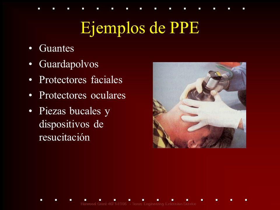 Ejemplos de PPE Guantes Guardapolvos Protectores faciales Protectores oculares Piezas bucales y dispositivos de resucitación