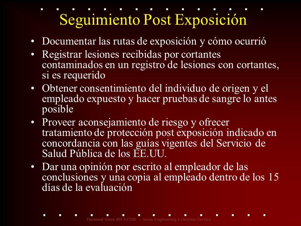 Seguimiento Post Exposición Documentar las rutas de exposición y cómo ocurrió Registrar lesiones recibidas por cortantes contaminados en un registro d