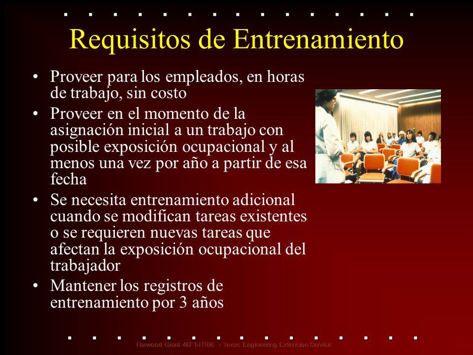 Requisitos de Entrenamiento Proveer para los empleados, en horas de trabajo, sin costo Proveer en el momento de la asignación inicial a un trabajo con