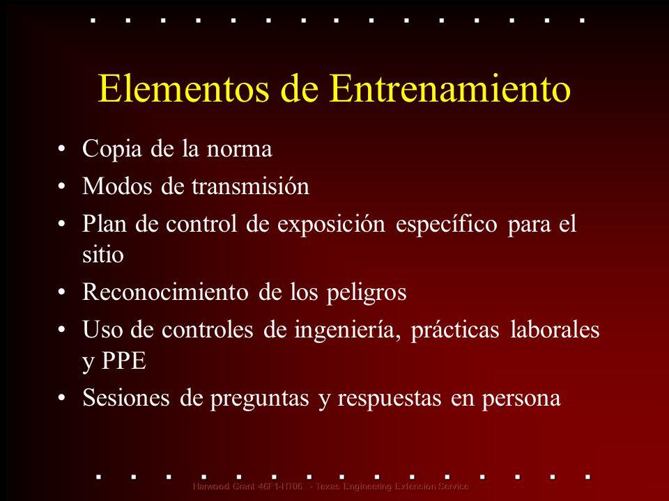 Elementos de Entrenamiento Copia de la norma Modos de transmisión Plan de control de exposición específico para el sitio Reconocimiento de los peligro