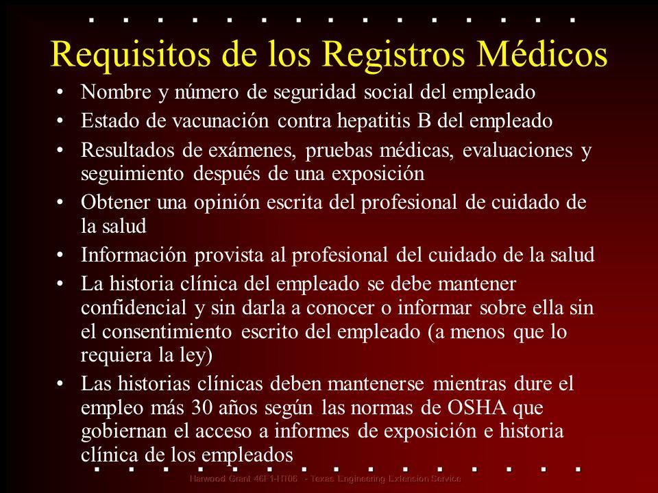 Requisitos de los Registros Médicos Nombre y número de seguridad social del empleado Estado de vacunación contra hepatitis B del empleado Resultados d