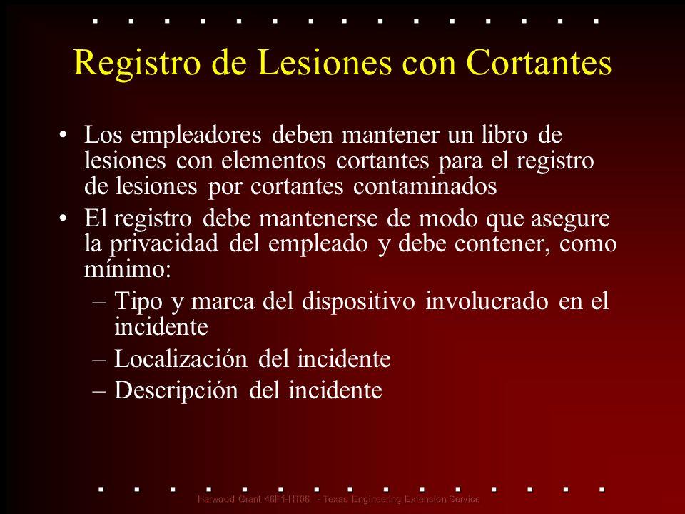 Registro de Lesiones con Cortantes Los empleadores deben mantener un libro de lesiones con elementos cortantes para el registro de lesiones por cortan