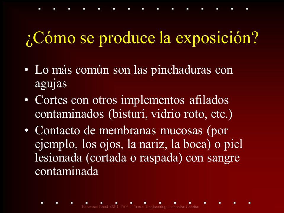 ¿Cómo se produce la exposición? Lo más común son las pinchaduras con agujas Cortes con otros implementos afilados contaminados (bisturí, vidrio roto,
