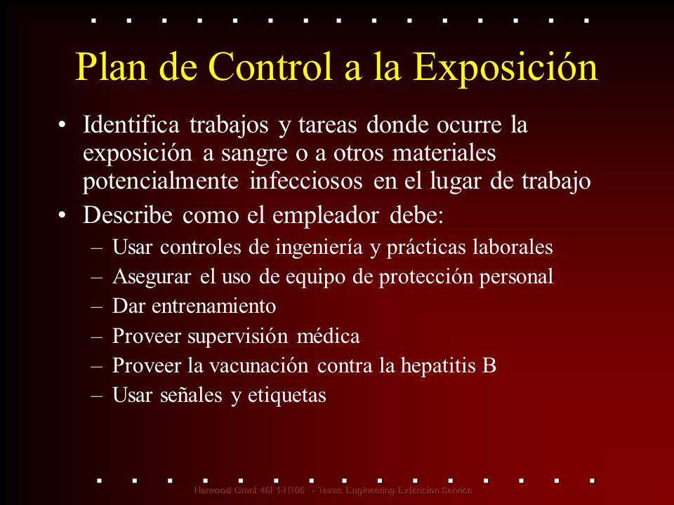 Plan de Control a la Exposición Identifica trabajos y tareas donde ocurre la exposición a sangre o a otros materiales potencialmente infecciosos en el