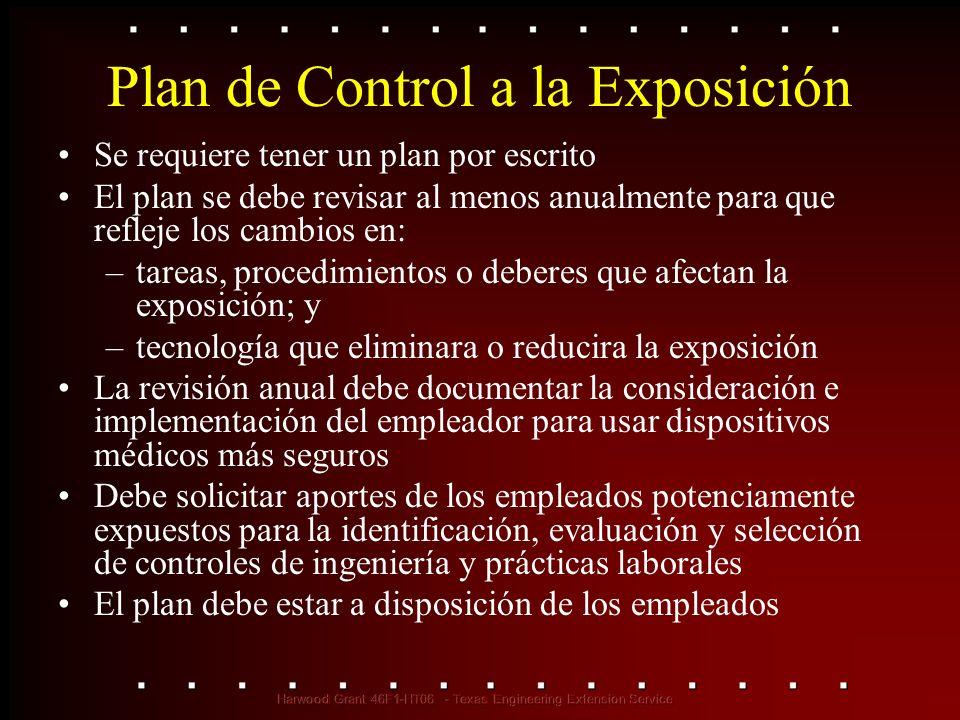 Plan de Control a la Exposición Se requiere tener un plan por escrito El plan se debe revisar al menos anualmente para que refleje los cambios en: –ta