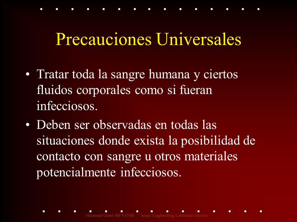 Precauciones Universales Tratar toda la sangre humana y ciertos fluidos corporales como si fueran infecciosos. Deben ser observadas en todas las situa