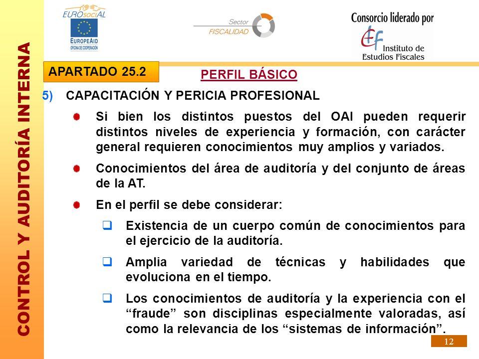 CONTROL Y AUDITORÍA INTERNA 12 5)CAPACITACIÓN Y PERICIA PROFESIONAL Si bien los distintos puestos del OAI pueden requerir distintos niveles de experie
