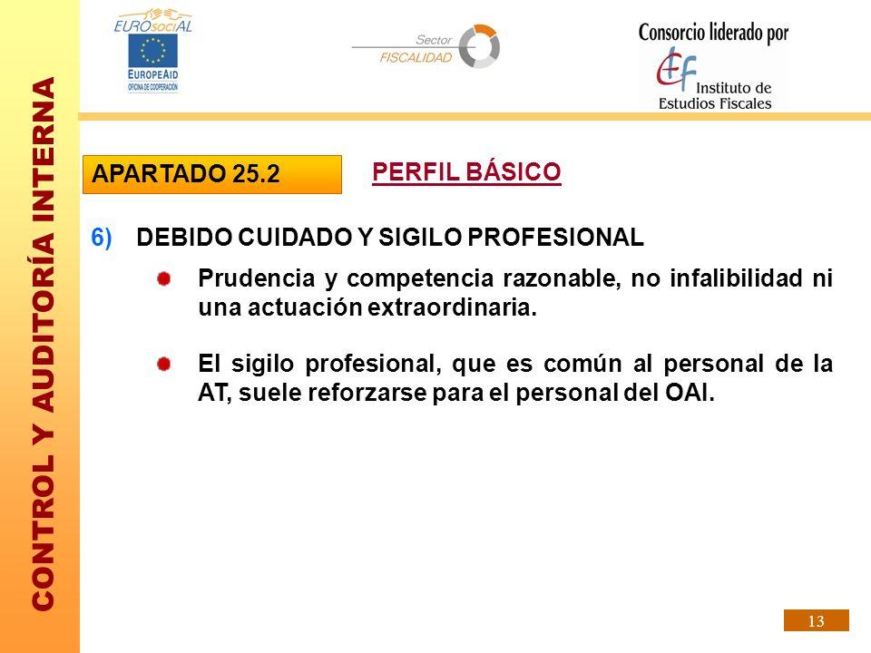 CONTROL Y AUDITORÍA INTERNA 13 6)DEBIDO CUIDADO Y SIGILO PROFESIONAL Prudencia y competencia razonable, no infalibilidad ni una actuación extraordinar