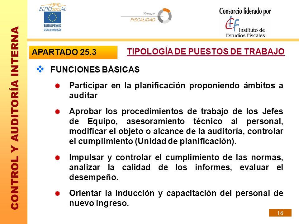 CONTROL Y AUDITORÍA INTERNA 16 FUNCIONES BÁSICAS Participar en la planificación proponiendo ámbitos a auditar Aprobar los procedimientos de trabajo de