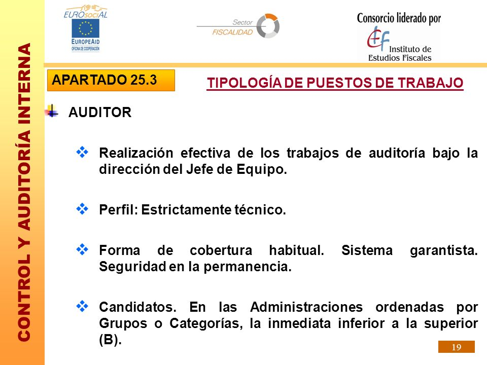 CONTROL Y AUDITORÍA INTERNA 19 AUDITOR Realización efectiva de los trabajos de auditoría bajo la dirección del Jefe de Equipo. Perfil: Estrictamente t