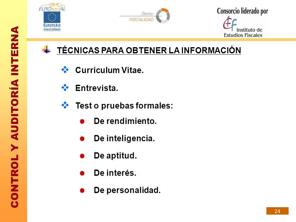 CONTROL Y AUDITORÍA INTERNA 24 TÉCNICAS PARA OBTENER LA INFORMACIÓN Currículum Vitae. Entrevista. Test o pruebas formales: De rendimiento. De intelige