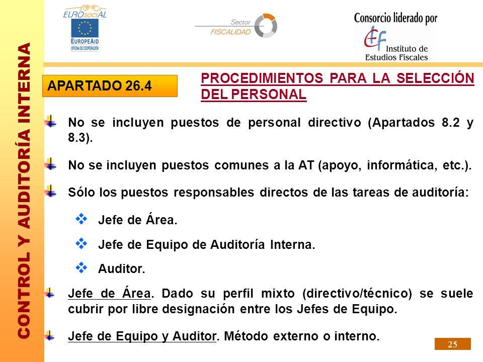 CONTROL Y AUDITORÍA INTERNA 25 No se incluyen puestos de personal directivo (Apartados 8.2 y 8.3). No se incluyen puestos comunes a la AT (apoyo, info