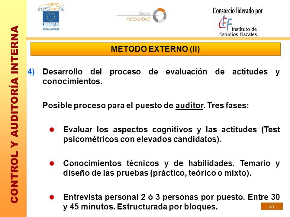 CONTROL Y AUDITORÍA INTERNA 27 4)Desarrollo del proceso de evaluación de actitudes y conocimientos. Posible proceso para el puesto de auditor. Tres fa
