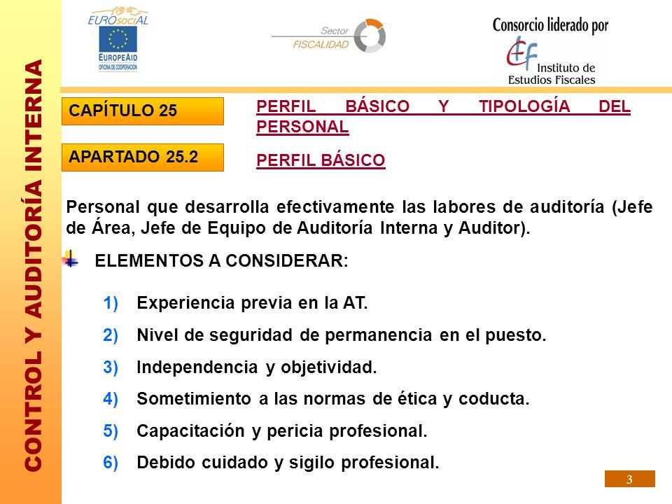 CONTROL Y AUDITORÍA INTERNA 3 ELEMENTOS A CONSIDERAR: 1)Experiencia previa en la AT. 2)Nivel de seguridad de permanencia en el puesto. 3)Independencia