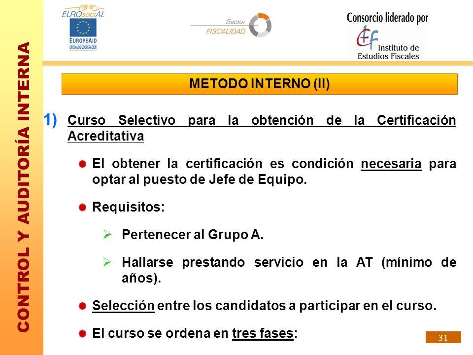 CONTROL Y AUDITORÍA INTERNA 31 METODO INTERNO (II) 1) Curso Selectivo para la obtención de la Certificación Acreditativa El obtener la certificación e