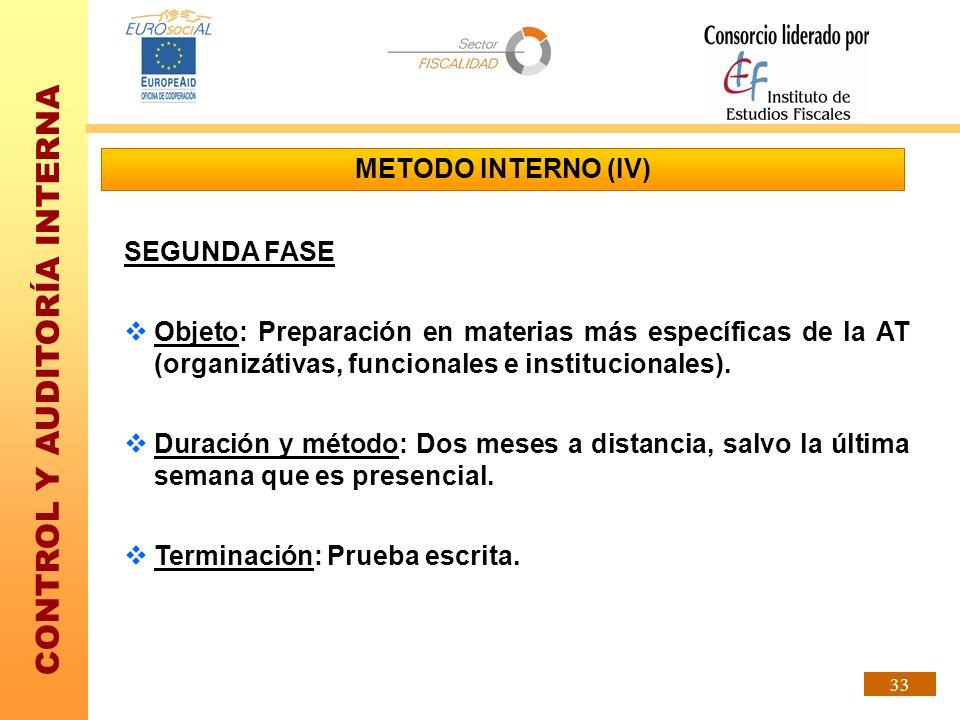 CONTROL Y AUDITORÍA INTERNA 33 METODO INTERNO (IV) SEGUNDA FASE Objeto: Preparación en materias más específicas de la AT (organizátivas, funcionales e