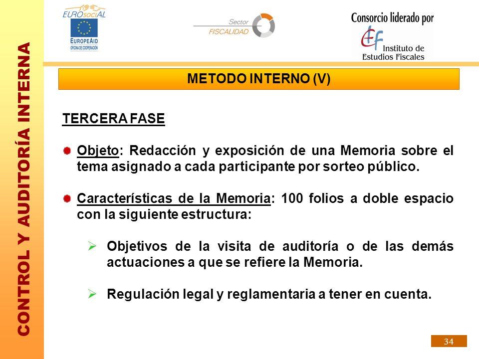 CONTROL Y AUDITORÍA INTERNA 34 METODO INTERNO (V) TERCERA FASE Objeto: Redacción y exposición de una Memoria sobre el tema asignado a cada participant